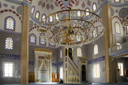 prayer tower: Islam, Muslims pray in the mosque, who is studying, praying. Istanbul Bahcelievler Ulubatli Hasan mosque. Editorial