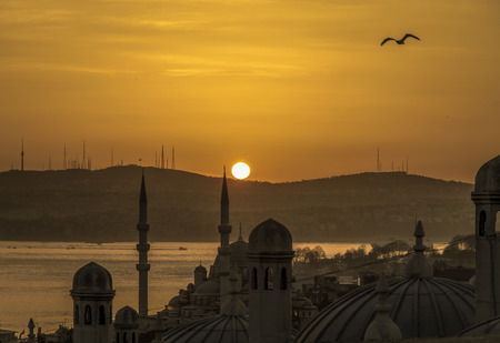 marine environment: Sunrise photo from a high place in Istanbul. The Marmara Istanbul is seen through the marine environment.