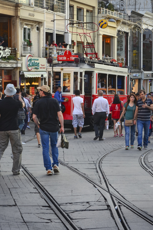 municipal utilities: Istanbul, Turkey - September 9, 2012: the former tram on Istiklal Street in Istanbul, Taksim-Tunel carry passengers. Editorial