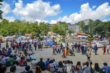 eviction: Istanbul, Turkey - June 9, 2013: A wave of demonstrations and civil unrest in Turkey began on 28 May 2013, initially to contest the urban development plan for Istanbuls Taksim Gezi Park. The protests were sparked by outrage at the violent eviction of a s