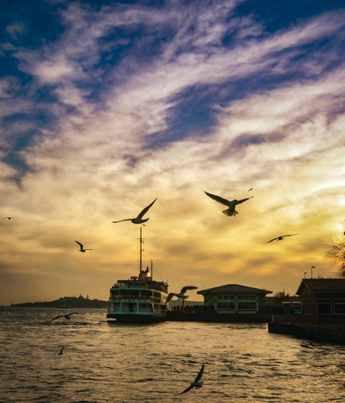 appears: Istanbul, Turkey - February 2, 2014: Sea of Marmara, the Bosphorus in the evening. sunset, seagulls and people.Istanbul, Be?ikta? pier appears.