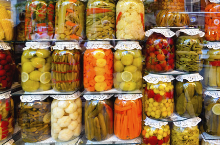 the place is important: Traditional Turkish pickles of various fruits and vegetables. There is an important place in Turkey and produced first by the Turks. Stock Photo