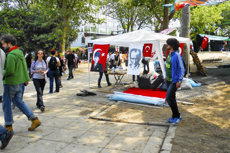 outrage: Istanbul, Turkey - June 5, 2013: Turkish leader Ataturk tent. wave of Demonstrations and civil unrest in Turkey beg on 28 May 2013. Initially to contest the urban development plan for Istanbuls Taksim Gezi Park. The protests were Sparked by outrage at th
