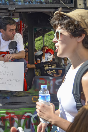 suffered: Istanbul, Turkey - June 9, 2013: in protests in Taksim suffered damage municipality buses. A wave of demonstrations and civil unrest in Turkey began on 28 May 2013, initially to contest the urban development plan for Istanbuls Taksim Gezi Park. The prote