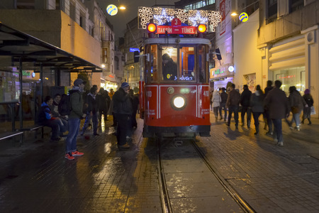 municipal utilities: Istanbul, Turkey - September 21, 2012: the former tram on Istiklal Street in Istanbul, Taksim-Tunel carry passengers. A cold winter day. Editorial