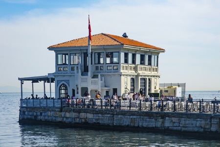 Istanbul, Turkey - May 29, 2016: Historical Moda Port of Moda, Istanbul, Turkey. Istanbul's Kadikoy district, was built in 1915 by architect Vedat Tek. Moda  Historical Wharf, and indigenous people of the region, there are many arts and foreign statesmen