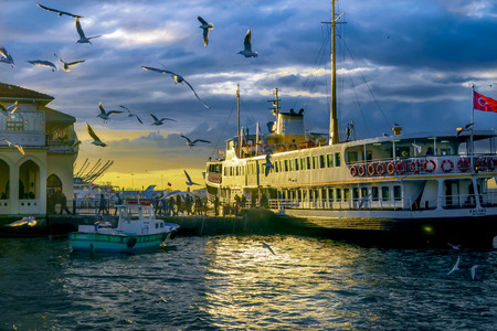 Istanbul, Turkey - January 19, 2013: Ferries in ?stanbul.boats has traversed the waters of the Bosphorus for millennia and until the opening of the first Bosphorus bridge in 1973 were the only mode of transport between the European and Asian halves of Ist Editorial