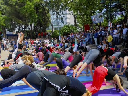 guarding: Istanbul, Turkey - June 5, 2013: Taksim Gezi Park protests and Events . Taksim Gezi Park in guarding activists, while sports. Editorial