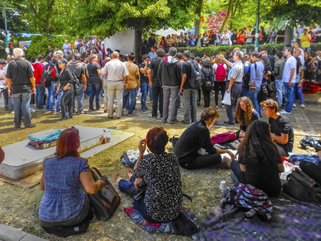 fawkes: Istanbul, Turkey - June 5, 2013: When speaking groups of protesters. A wave of demonstrations and civil unrest in Turkey began on 28 May 2013, initially to contest the urban development plan for Istanbuls Taksim Gezi Park. The protests were sparked by ou