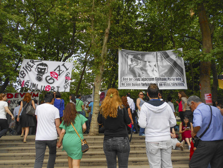 Istanbul, Turkey - June 5, 2013: Nazim Hikmet Ran, Turkish poet, playwright, novelist. Romantic communist and romantic revolutionary is defined as a poster hung in the protest area. A wave of demonstrations and civil unrest in Turkey began on 28 May 2