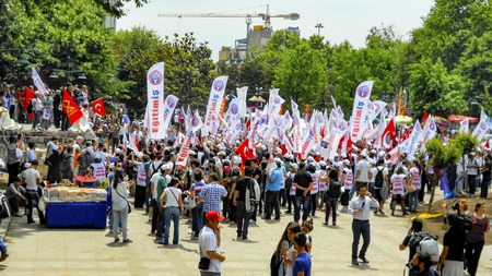 Istanbul, Turkey - June 5, 2013: Taksim Gezi Park protests and Events. Taksim Gezi Park project actions. change in response to the wave of Demonstrations and civil unrest in Turkey beg on 28 May 2013. Initially to contest the urban development plan for Is
