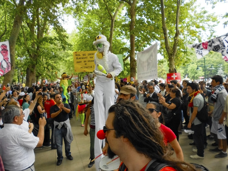 dissent: Istanbul, Turkey - June 5, 2013: Taksim Gezi Park protest the animators and clown show. A wave of demonstrations and civil unrest in Turkey began on 28 May 2013, initially to contest the urban development plan for Istanbuls Taksim Gezi Park. The protests