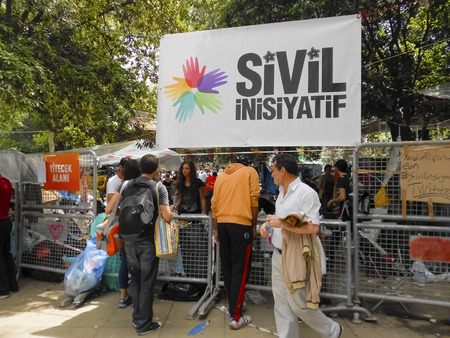 Istanbul, Turkey - June 5, 2013: Free logistics support to the protesters. wave of Demonstrations and civil unrest in Turkey beg on 28 May 2013. Initially to contest the urban development plan for Istanbuls Taksim Gezi Park. The protests were Sparked by