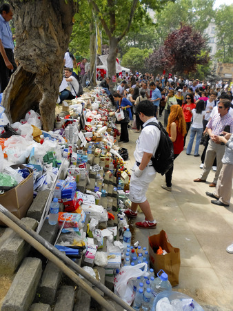 Istanbul, Turkey - June 5, 2013: The protesters first aid, medicine and food stands, free give and take. A wave of demonstrations and civil unrest in Turkey began on 28 May 2013, initially to contest the urban development plan for Istanbuls Taksim Gezi P Editorial