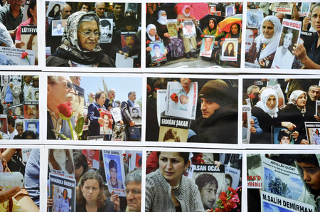 dissent: Istanbul, Turkey - June 9, 2013:  Saturday Mothers Gezi Park resistance Photography exhibition. The Saturday Mothers (Cumartesi Anneleri) is a group who gathers 12pm every Saturday for half an hour at Galatasaray (district), Istanbul (Turkey), holding pho