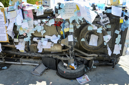 Istanbul, Turkey - June 9, 2013: Travel Park protests damaged vehicles, Articles wishes and requests. wave of Demonstrations and civil unrest in Turkey beg on 28 May 2013. Initially to contest the urban development plan for Istanbuls Taksim Gezi Park. Th