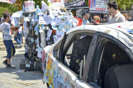 damaged vehicles: Istanbul, Turkey - June 9, 2013: Travel Park protests damaged vehicles, Articles wishes and requests. wave of Demonstrations and civil unrest in Turkey beg on 28 May 2013. Initially to contest the urban development plan for Istanbuls Taksim Gezi Park. Th
