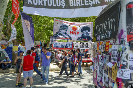 Istanbul, Turkey - June 9, 2013: Travel Park, the world political and revolutionary folk hero posters. A wave of Demonstrations and civil unrest in Turkey beg on 28 May 2013. Initially to contest the urban development plan for Istanbuls Taksim Gezi Park.