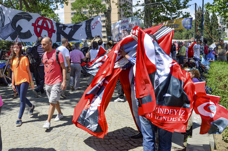 Istanbul, Turkey - June 9, 2013: Taksim Gezi Park was the cause of the explosion in sales flag made with the response action. A wave of demonstrations and civil unrest in Turkey began on 28 May 2013, initially to contest the urban development plan for Ist