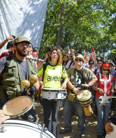 Istanbul, Turkey - June 9, 2013: Taksim Gezi Park, which support the protesters marching band music. A wave of demonstrations and civil unrest in Turkey began on 28 May 2013, initially to contest the urban development plan for Istanbuls Taksim Gezi Park.