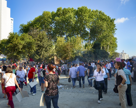Istanbul, Turkey - June 9, 2013: A wave of demonstrations and civil unrest in Turkey began on 28 May 2013, initially to contest the urban development plan for Istanbuls Taksim Gezi Park. The protests were sparked by outrage at the violent eviction of a s