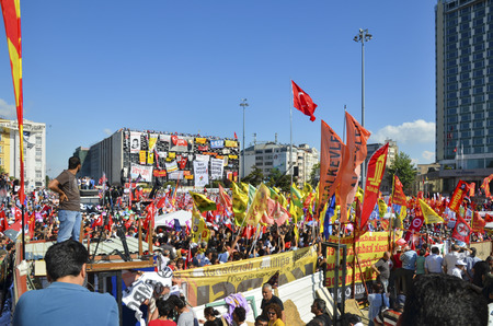 Istanbul, Turkey - June 9, 2013: A view from the protests in Taksim square.?t has StartEd action against the construction of a shopping center instead of cutting trees in Gezi Park in Istanbul. A large portion of Turkey spreads. wave of Demonstrations and