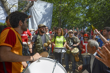 dissent: Istanbul, Turkey - June 9, 2013: Taksim Gezi Park, which support the protesters marching band music. A wave of demonstrations and civil unrest in Turkey began on 28 May 2013, initially to contest the urban development plan for Istanbuls Taksim Gezi Park.