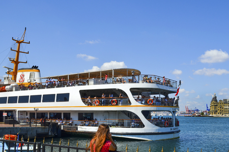 Istanbul, Turkey - September 9, 2012: Ferries in ?stanbul.boats has traversed the waters of the Bosphorus for millennia and until the opening of the first Bosphorus bridge in 1973 were the only mode of transport between the European and Asian halves of Is