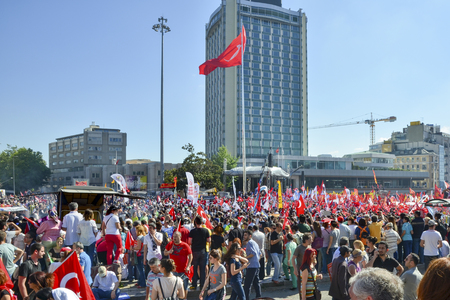 Istanbul, Turkey - June 9, 2013: It has StartEd action against the construction of a shopping center instead of cutting trees in Gezi Park in Istanbul. A large portion of Turkey spreads. wave of Demonstrations and civil unrest in Turkey beg on 28 May 2013