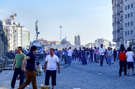 Istanbul, Turkey - June 9, 2013: The view from Taksim Square. A wave of demonstrations and civil unrest in Turkey began on 28 May 2013, initially to contest the urban development plan for Istanbuls Taksim Gezi Park. The protests were sparked by outrage a
