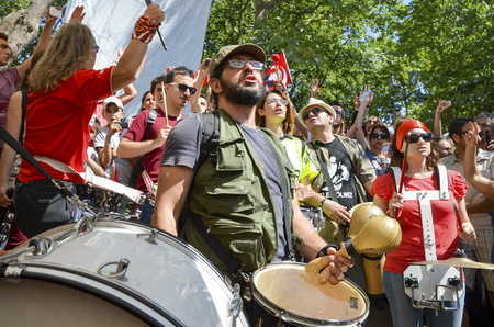 Istanbul, Turkey - June 9, 2013: Taksim Gezi Park, which support the protesters marching band music.The sit-in at Taksim Gezi Park was restored after police withdrew from Taksim Square on 1 June, 2013 and developed into an Occupy-like camp, with thousands