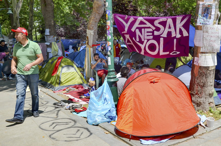Istanbul, Turkey - June 9, 2013:  Taksim Gezi Park guarding the protesters set up tents. A wave of demonstrations and civil unrest in Turkey began on 28 May 2013, initially to contest the urban development plan for Istanbuls Taksim Gezi Park. The protest Editorial