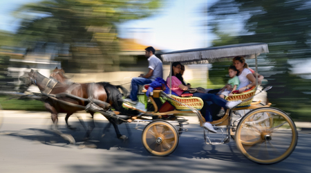 hackney carriage: Istanbul, Turkey - September 29, 2013: Buyukada Phaeton carriage (panning camera) in .Buyuka Princes Islands, also known as Istanbul is the largest to the islands off of the coast. Buyukada motor vehicle is not being used, such as the Phaeton carriage ta