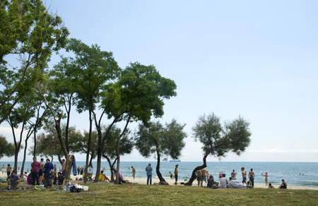 istanbul beach: Istanbul, Turkey - June 4, 2016: summer residence of Syrian refugees Istanbul, Kucukcekmece Violet coast. According to the surrounding residents say refugee families are using the beach as a permanent residence.