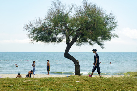 istanbul beach: Istanbul, Turkey - June 4, 2016: summer residence of Syrian refugees Istanbul, Kucukcekmece Violet coast. According to the surrounding residents say � refugee families are using the beach as a permanent residence. Editorial