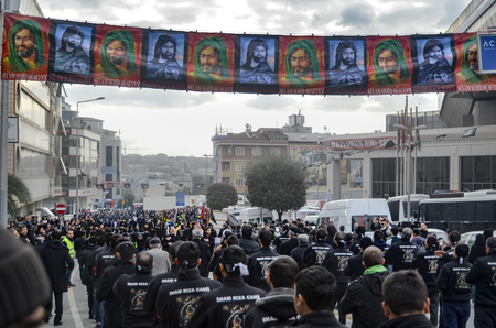 ibn: Istanbul, Turkey - November 3, 2014: Universal Ashura Mourning Ceremony. Ashura. Universal Day of Ashura Mourne Ceremonyâ was held in Istanbul to commemorate the martyrdom of Husain ibn Ali, the grandson of the Prophet Muhammad and his 71 friends.