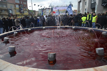 mourne: Istanbul, Turkey - November 3, 2014: Universal Ashura Mourning Ceremony. Day of Ashura. Arenameg in front of the pool, was seen painted in red to symbolize the blood spilled in karbala. Universal Ashura Mourne Ceremony, was held in Istanbul to commemorate Editorial