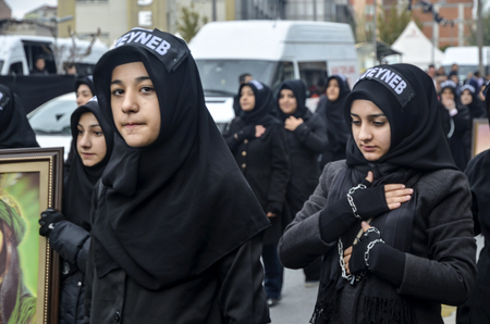 martyrdom: Istanbul, Turkey - November 3, 2014: Universal Ashura Mourning Ceremony. Mourne ashura. Universal Day of Ashura Ceremony, was held in Istanbul to commemorate the martyrdom of Husain ibn Ali, the grandson of the Prophet Muhammad and his 71 friends.
