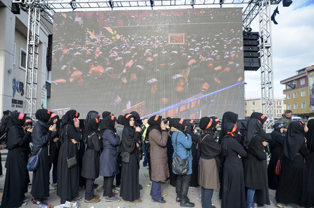 azeri: Istanbul, Turkey - November 3, 2014: Universal Ashura Mourning Ceremony. Mourne ashura. Universal Day of Ashura Ceremony, was held in Istanbul to commemorate the martyrdom of Husain ibn Ali, the grandson of the Prophet Muhammad and his 71 friends.