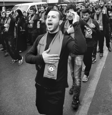 azeri: Istanbul, Turkey - November 13, 2013: The global mourning ceremony of Ashura. Azerbaijan Hz. Imam Hussain Group. Karbala Martyrs Commemoration in Arenamega. Thousands of Jaferies in Turkey joined the Karbala mourning ritual where Prophet Muhammads grands