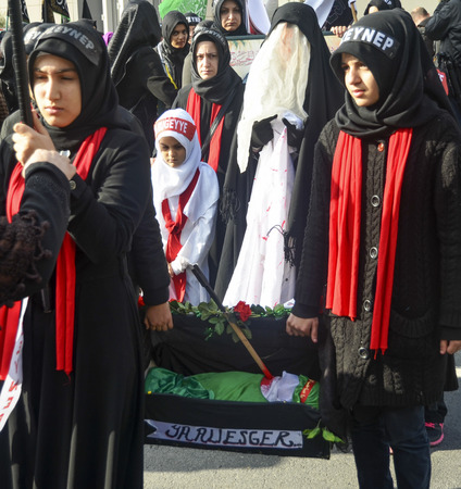ibn: Istanbul, Turkey - November 3, 2014: Universal Ashura Mourning Ceremony. Mourne ashura. Universal Day of Ashura Ceremony, was held in Istanbul to commemorate the martyrdom of Husain ibn Ali, the grandson of the Prophet Muhammad and his 71 friends.
