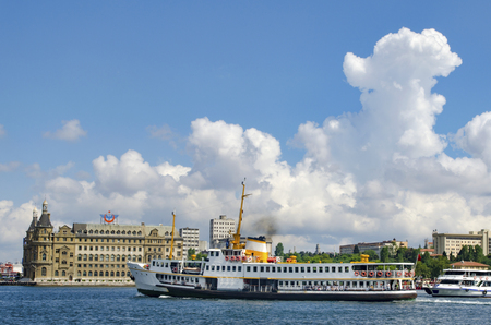 Called vapur in Turkish, Istanbul Ferries. Historic Haydarpasa train station