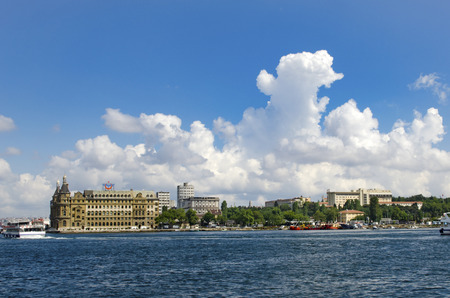 Turkey, Istanbul historic Haydarpasa train station and the unusual white clouds