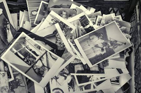 soppy: Istanbul, Turkey - September 9, 2012: Old family photos.?stanbul Istanbuls Beyoglu district of Istanbul seen old family photos in an antique shop.