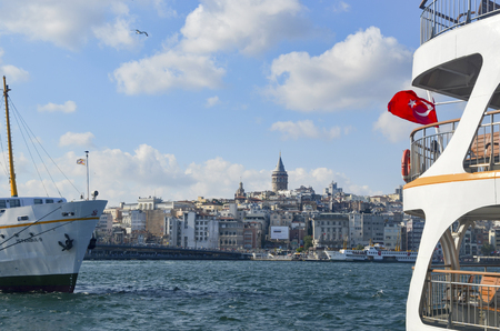 sea life centre: Istanbul, Turkey - July 26, 2016: Galata Bridge and Galata Tower in the background, Istanbul views. This is a great place to see the colors of Istanbul at . Interesting to see the fishermen on the bridge with the Galata tower in the background. There are
