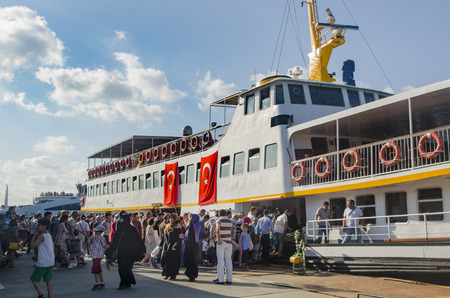 failed attempt: Istanbul, Turkey - July 26, 2016: Istanbul Eminonu pier, ferry ticketless special day dense crowd. Istanbul municipality, after the failed coup attempt of July 15 temporary public transport was free.