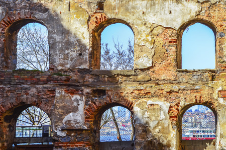 Old brick and stone walls, the ruins of buildings. Background. The ruins of buildings built between 1798-1802 as a granary history in Istanbul.