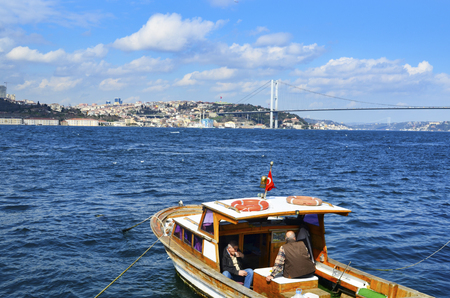 koprusu: Istanbul, Turkey - March 10, 2013: View of the European side of Istanbul from the Bosphorus. The Bosphorus Bridge (Turkish: Bogazici Koprusu), also called the First Bosphorus Bridge, is one of two suspension bridges spanning the Bosphorus strait (Turkish: