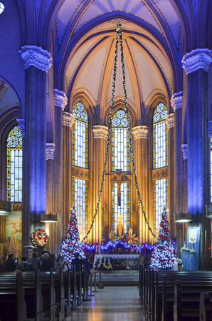 Istanbul, Turkey - December 29, 2013: St. Antoine Catholic Church Istanbuls largest and the community is the largest Catholic Church. located on Istiklal Caddesi in Beyoglu.