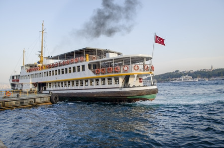 Ferry in Karakoy pier. Istanbul Ferries continue to serve as a key public transport link for many Thousands of commuters, tourists and vehicles per day.